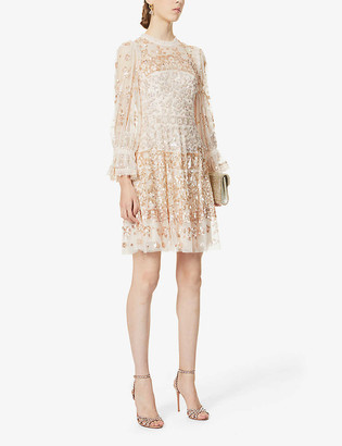 Needle And Thread Sequinned semi-sheer tulle embellished mini dress