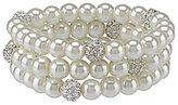 Cezanne Faux-Pearl & Pave Fireball Bracelet Set