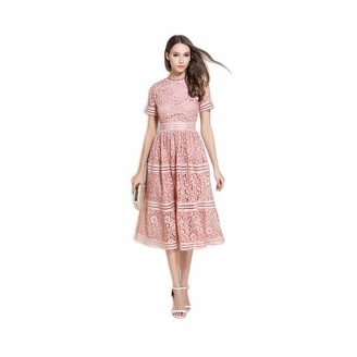 Dhf Ladies Elegant Slim Fit Large Swing Skirt Frying Color Long Lace Dress (Color : White Size : M)