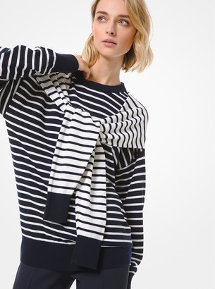 Michael Kors Striped Cashmere Tie-Shoulder Sweater