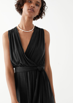 And other stories Plunging Cupro Midi Dress