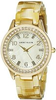 Anne Klein Women's 10/9956CMHN Swarovski Crystal Accented Gold-Tone Horn Resin Watch