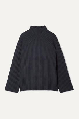 By Malene Birger Peach Oversized Ribbed Wool-blend Turtleneck Sweater - Navy