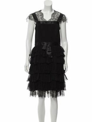 Oscar de la Renta Lace-Trimmed Wool Dress Black