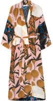Stine Goya Nat Printed Silk Crepe De Chine Kimono - Beige