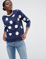 Asos Sweatshirt In Spot Print With Contrast Tipping