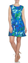 CeCe Water Garden Fit-and-Flare Dress
