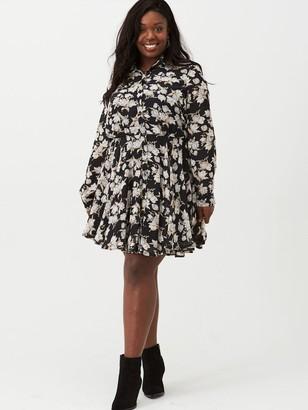 V By Very Curve Chiffon Skater Shirt Dress - Print