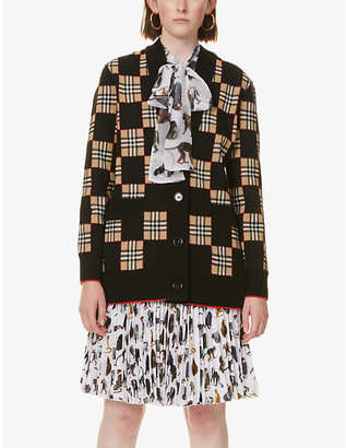Burberry Tartan check-print wool-blend cardigan