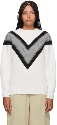 See by Chloe White and Grey Wool Cable Knit Sweater