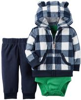 Carter's Baby Boy Plaid Hooded Cardigan, Bodysuit & Fleece Pants Set