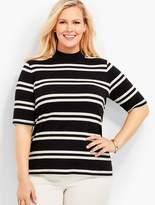 Talbots Womans Exclusive Mock Neck Shirt - Stripes