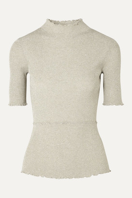 3.1 Phillip Lim Metallic Ribbed-knit Turtleneck Top - Neutral