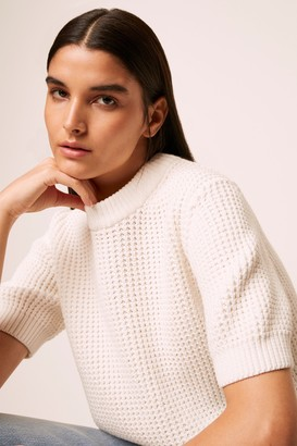French Connenction Luna Mozart Waffle Knit Short Sleeve Sweater