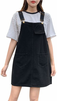 Lazutom Women's Casual Strap Denim Pinafore Overall A Line Dress with Pockets (UK 12