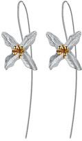 Lotus Fun Women's Earrings Silver - Goldtone & Sterling Silver Flower Threader Earrings