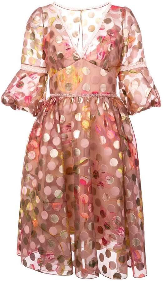 Marchesa polka dot flared dress