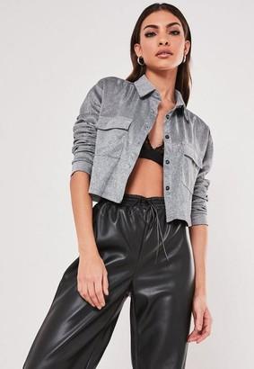 Missguided Tall Silver Glitter Crop Pocket Shirt