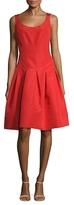 Oscar de la Renta Silk Pleated A-Line Dress