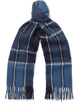 Dunhill Checked Wool And Cashmere-blend Scarf - Navy