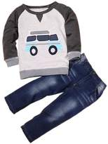 LUNIWEI Boys 2PCS/Set Outfits Car Printing Tops + Jeans
