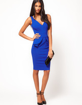 Hybrid Plunge Neck Peplum Pencil Dress