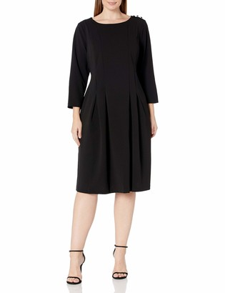 Donna Morgan Women's Plus Size Knited Crepe Fit and Flare Dress