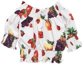 MSGM Fruit Print Cotton Poplin Cropped Top