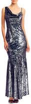 Nicole Miller Metallic Velvet Asymmetrical Strap Gown