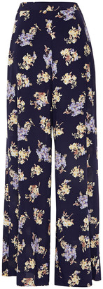 Zimmermann Floral-print Stretch-silk Wide-leg Pants
