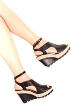 Lolli Couture DND ANNA PU OPEN TOE CUTOUT SIDE AND BACK LOOK ANKLE STRAP WEDGES HEEL 7