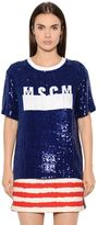 MSGM Logo Sequined Tulle T-Shirt