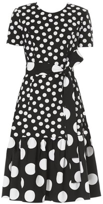 Carolina Herrera Mixed Polka Dot Tie-Waist Dress