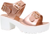 Yours Clothing Rose Gold & White Cleated Platform Sandal In EEE Fit