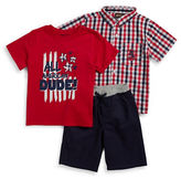 Nannette Boys 2-7 Little Boys Gingham Sportshirt, Graphic Tee and Knit Shorts Set
