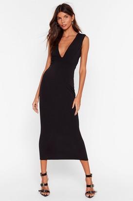 Nasty Gal Womens V Myself and I Slinky Midi Dress - Black - 4