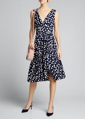 Carolina Herrera Polka-Dot Print Poplin Tie-Waist Dress