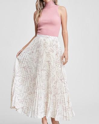 Express En Saison Floral Print High Waisted Pleated Maxi Skirt