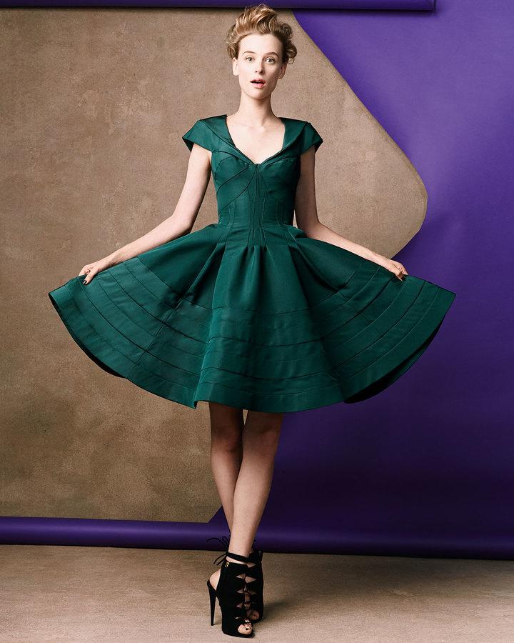 Zac Posen V-Neck Flare Dress, Green