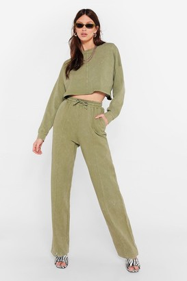 Nasty Gal Womens Acid Wash Your Deal Joggers Lounge Set - Green - 6