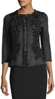 Andrew Gn Embroidered Jacquard Zip-Front Jacket