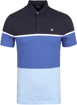 Armani Jeans Blue Block Short Sleeve Pique Polo Shirt