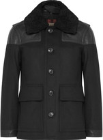Burberry Leather-Trimmed Virgin Wool-Blend Coat
