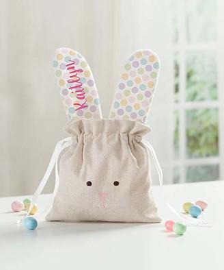Personalized Planet Handbags - Polka Dot Personalized Linen Bunny Drawstring Bag