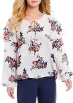 June & Hudson Floral Printed Long Sleeve Ruffle Top