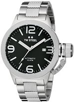 TW Steel Canteen Unisex Automatic Watch with Black Dial Analogue Display and Silver Stainless Steel Bracelet CB5