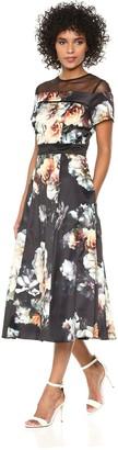 SL Fashions Women's Sheer Yoke Party Dress