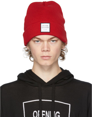 Opening Ceremony Red Wool Logo Beanie