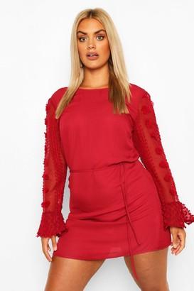 boohoo Plus Dobby Chiffon Ruffle Mini Dress