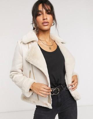 Fashion Union faux shearling biker jacket